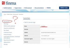 swissmain занесен в черный список FINMA