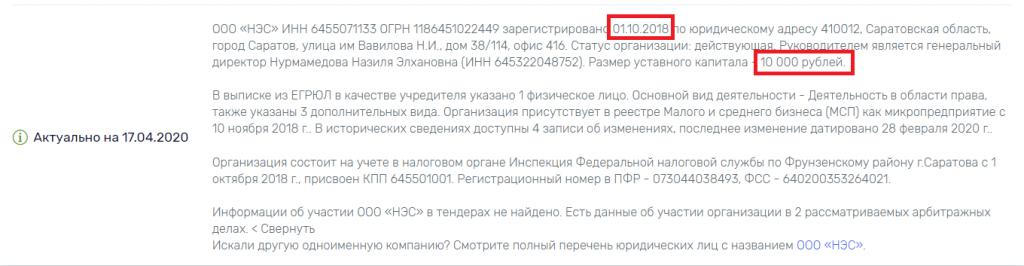 По компании ООО НЭС: